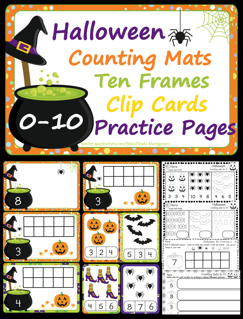 Halloween 0-10 Counting Mats, Ten Frames, Counting Clip Cards, & Practice Pages