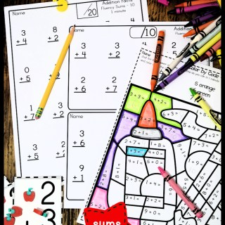 Addition Fact Fluency Pages with fun Back to School Color by Code and Coordinating Flashcards
