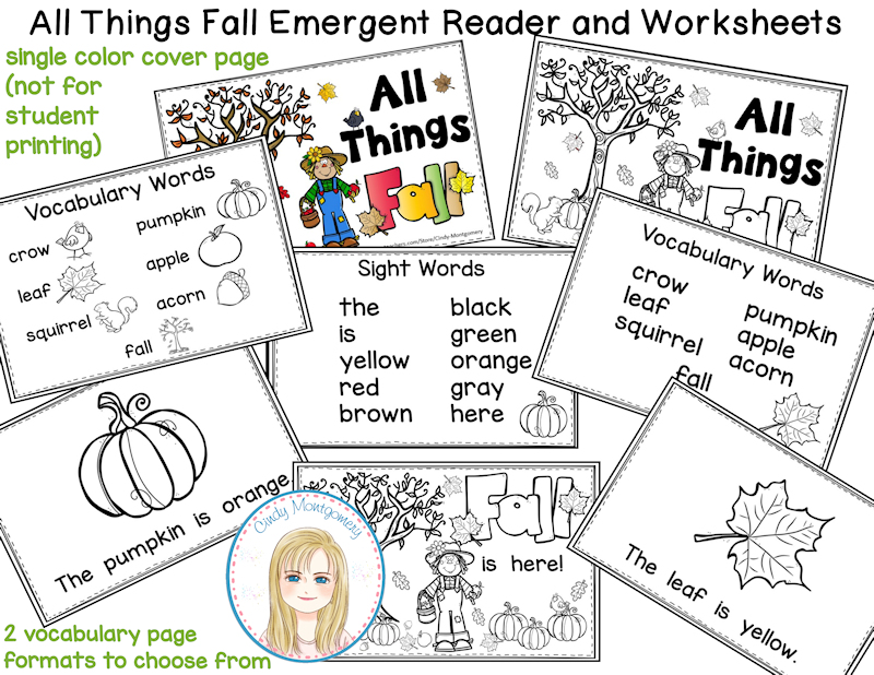 All Things Fall Emergent Reader and Worksheets