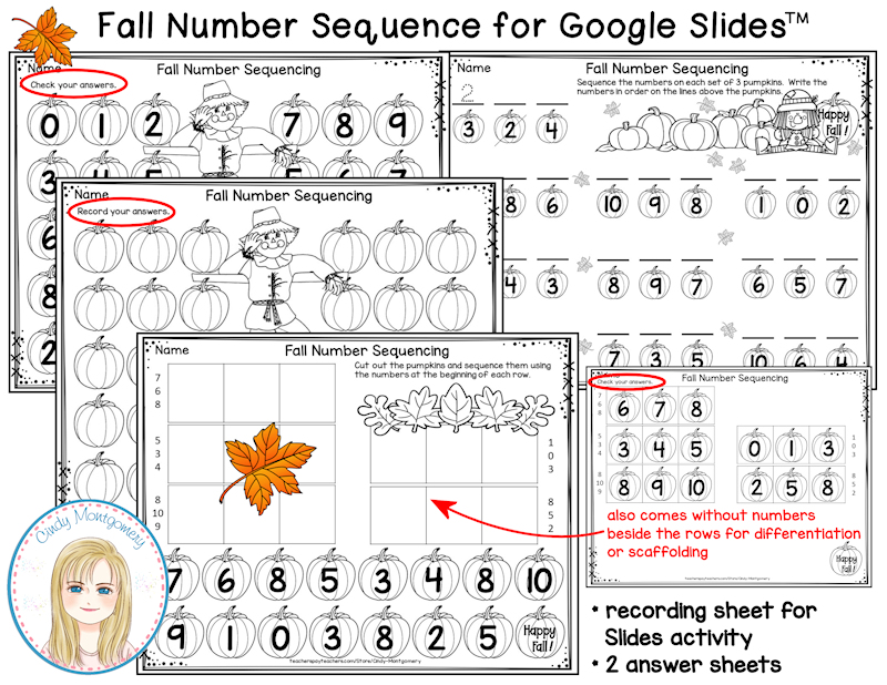 Fall Number Sequencing Digital Activity Printables