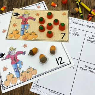 Fall Counting Mats 0 - 20 and Worksheets