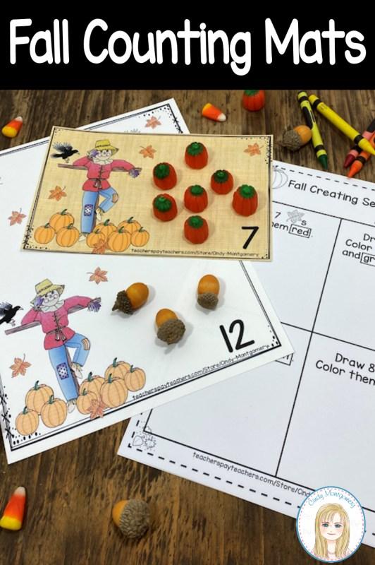 Fall Counting Mats 0 - 20 and Worksheets