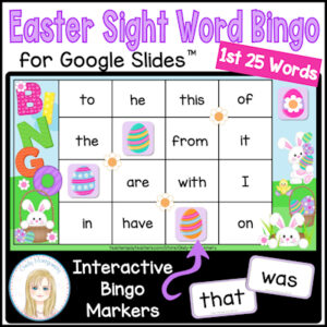 Easter Sight Words Bingo for Google Slides: resource to teach first 25 sight words
