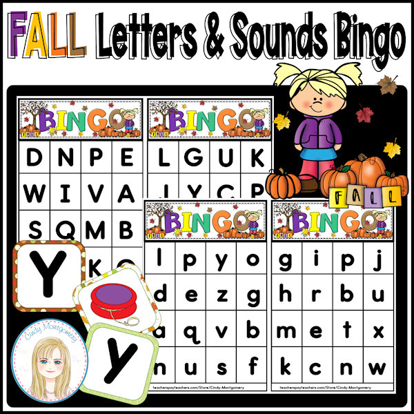 Fall Letters and Sounds Bingo cover