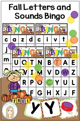 Fall Letters and Sounds Bingo