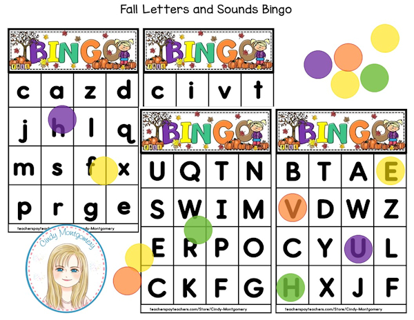 Fall Letters and Sounds Bingo preview