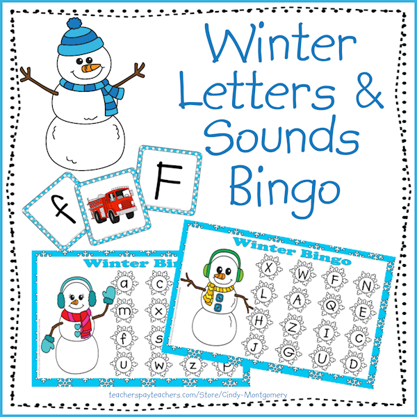Winter letter and sounds bingo cover