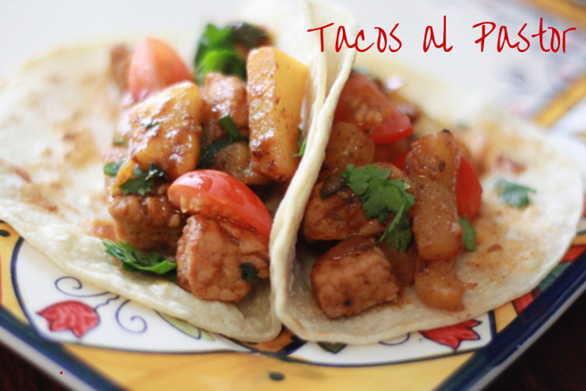 An easy version of Tacos al Pastor. Sweet pineapple and spicy pork make the perfect tacos. Recipe at everydayjenny.com