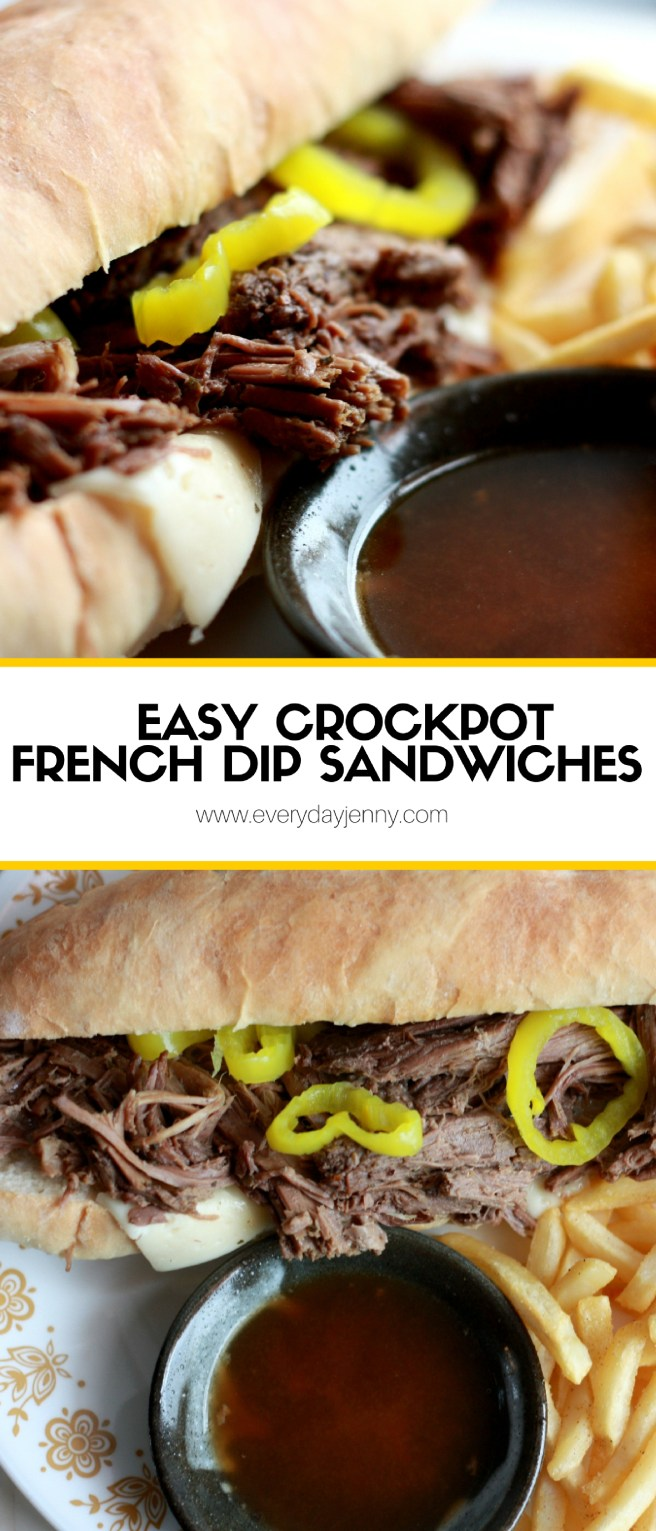 These are the best, easy crockpot french dip sandwiches with a yummy au jus to dip it in! Recipe at everydayjenny.com