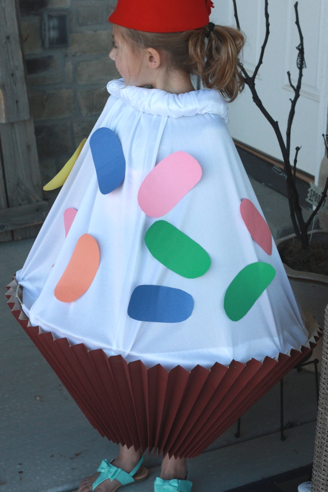 DIY Cupcake Costume from lampshade. Items purchased at Deseret Industries.