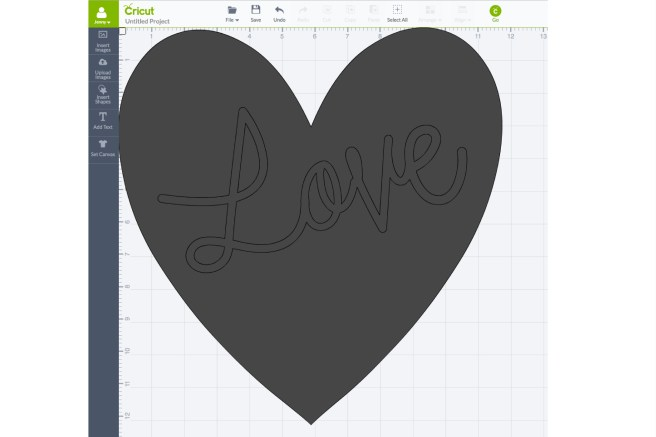 Screen shot of DIY Love Pillow Design Space before Slice