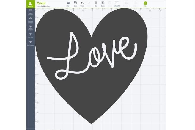 Screen shot of DIY Love Pillow Design Space