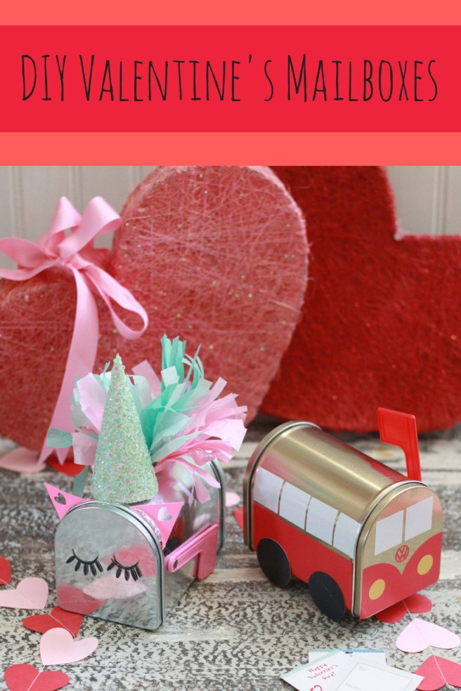 Unicorn Valentines Mailbox and VW bus Valentines Mailbox. From Target Dollar Spot. Personalized with Cricut.