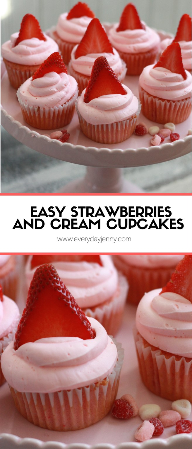 Strawberries and cream cupcakes. Whipped cream frosting makes this the perfect dreamy dessert. Easy to make, starts with a cake mix. Recipe at everydayjenny.com