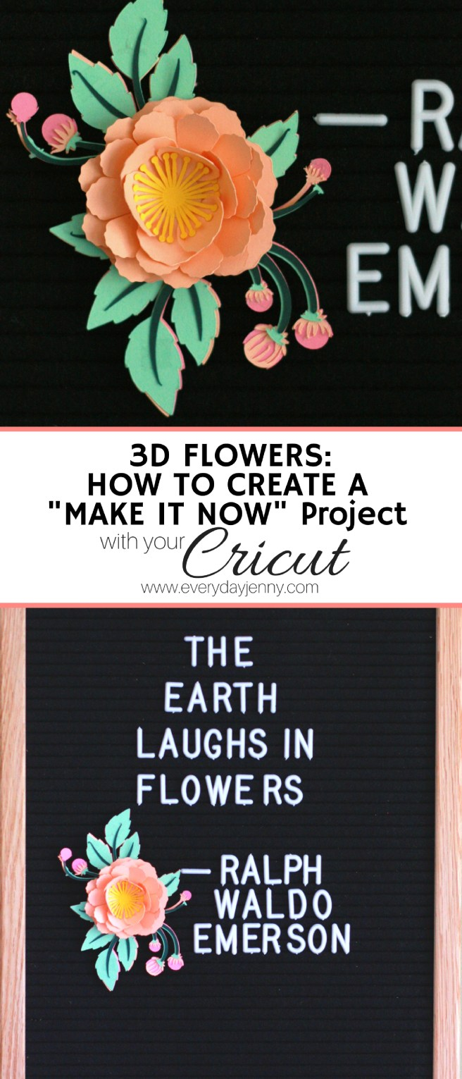 """Learn how easy it is to create """"Make It Now"""" projects in Cricut Design Space like these cute 3D paper flowers you can put on your letter board. #Cricut #Paperflower #Letterboard"""