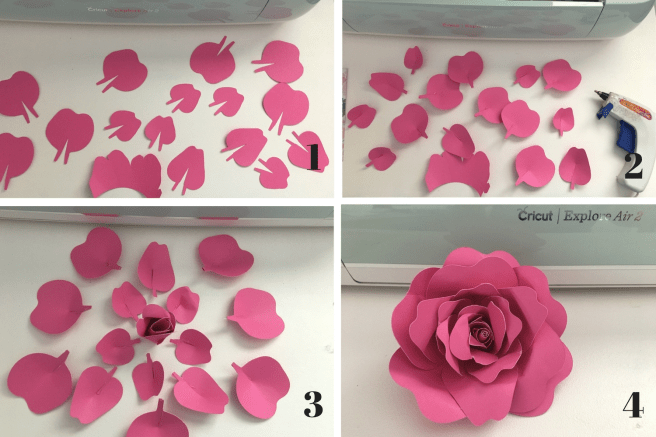 Cricut Flowers Steps 1-4