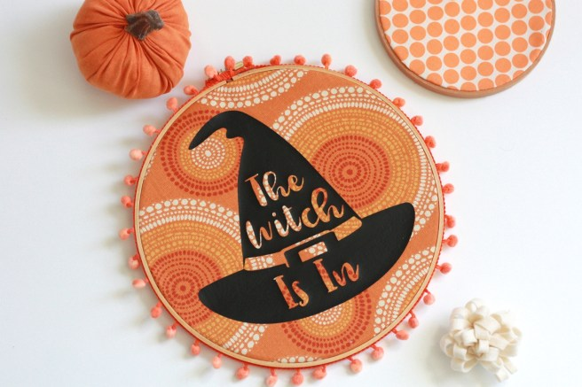 Halloween Witch Decor Made with the Cricut Maker and Iron-on