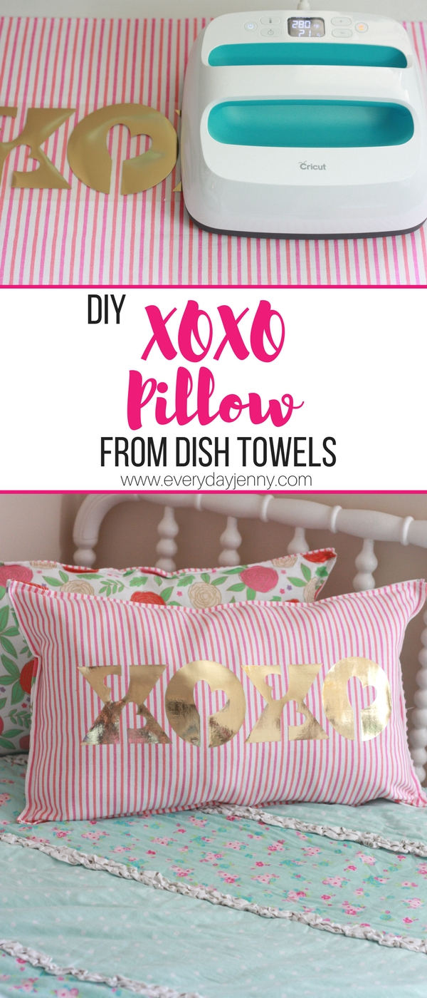 Make these cute pillows with dish towels and Cricut iron-on and your Cricut. Tips for using Cricut iron-on. #Cricut #CricutMaker #Cricutmade