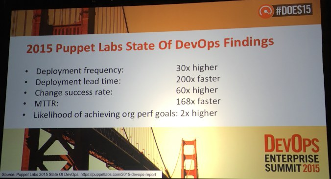 Findings shared by Gene Kim in the opening remarks of DOES15