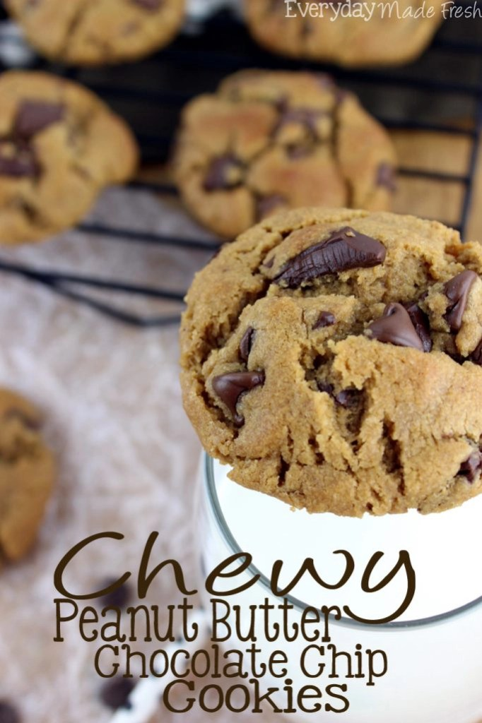 Perfectly Chew Peanut Butter Chocolate Chip Cookies are easy to make, flour free, and have that perfect chewy cookie texture!   Everydaymadefresh.com