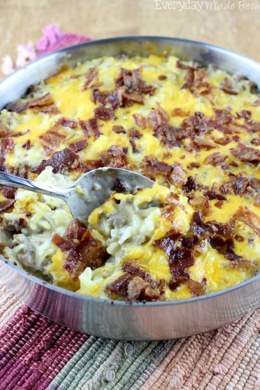 Fully Loaded Hash Brown Casserole is loaded with bacon, sausage, cheese, and delicious shredded potatoes! It's perfect for breakfast, brunch, dinner, or anytime of the day. | EverydayMadeFresh.com