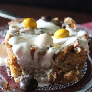 Pumpkin bread pudding is warm and soft on the inside, with pecan pie flavored M&M's®, that really help enhance the fall flavors!