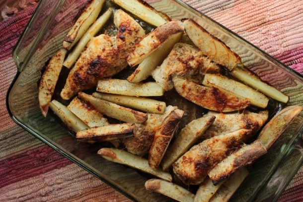 Prep this one pan chicken and potato bake, throw it in the oven, and forget about it. Help the kids with homework or clean house while dinner is cooking!