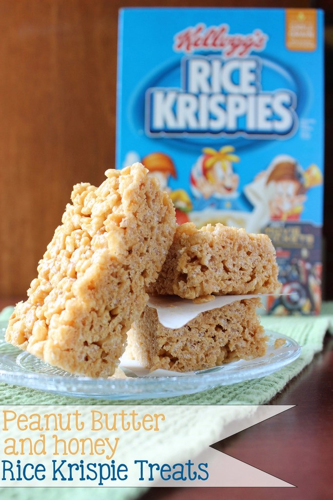 4 Ingredients make the best Peanut Butter and Honey Rice Krispie Treats!