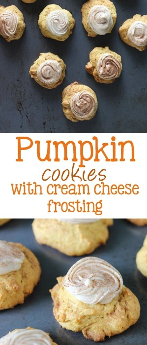 Pumpkin cookies with cream cheese frosting are soft little pillows of pumpkin goodness, topped with a spiced cream cheese frosting that trumps all other pumpkin cookies! | EverydayMadeFresh.com