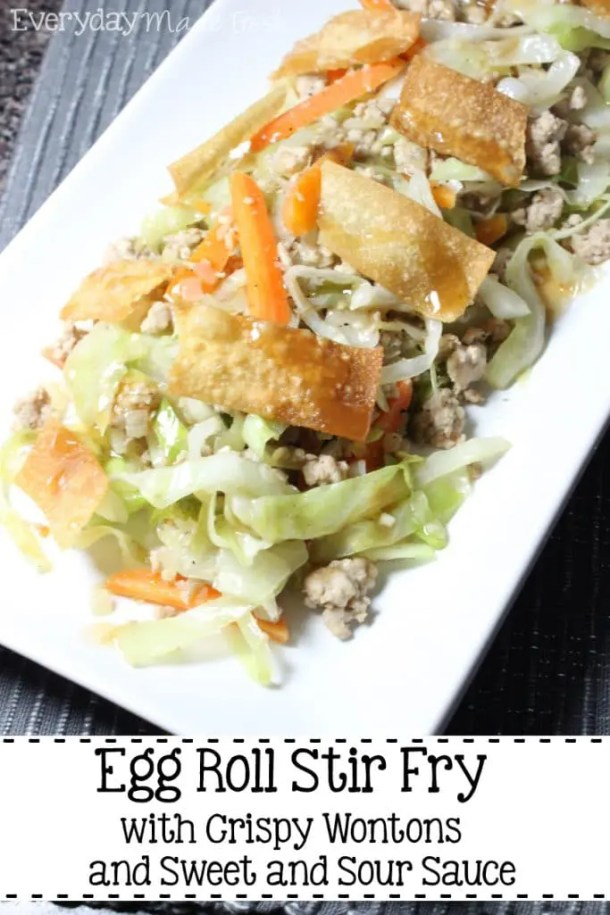 This Egg Roll Stir Fry with Crispy Wontons and Sweet and Sour Sauce is basically a deconstructed Egg Roll. Get all your favorite flavors in a quick fix week night meal!   EverydayMadeFresh.com