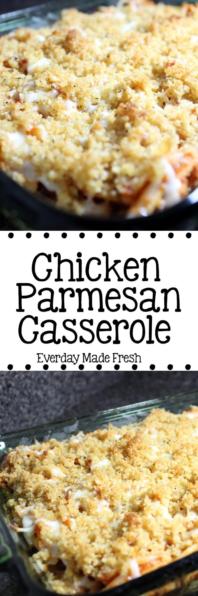 Chicken Parmesan Casserole takes one of our family's favorite Italian Dishes and turns it into a fantastic casserole form! | EverydayMadeFresh.com