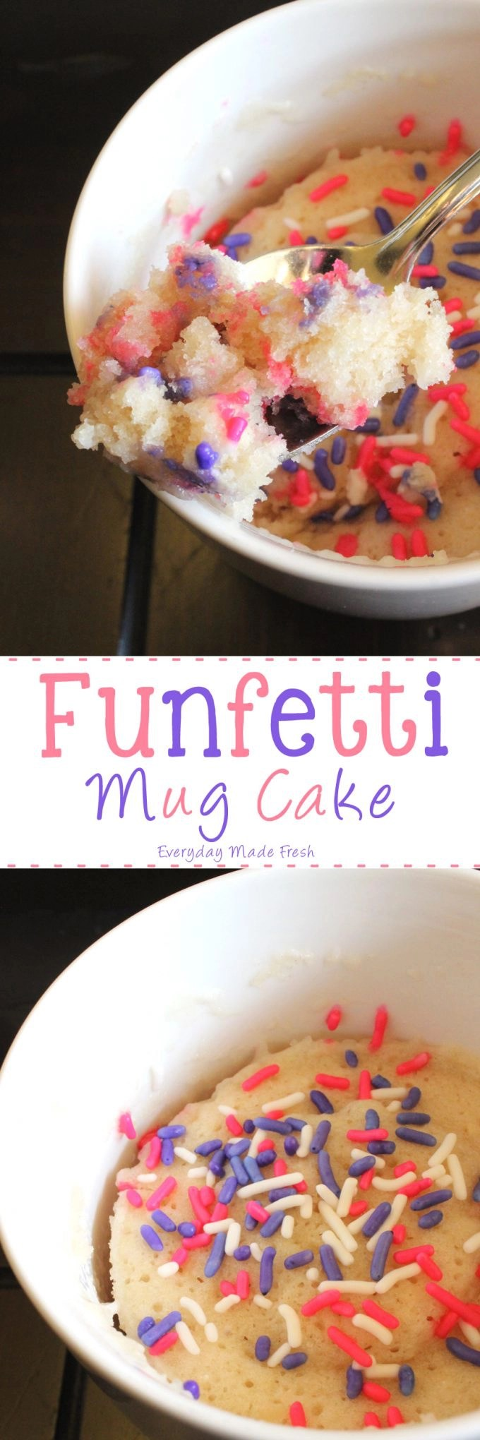 You are exactly 1 minute and 20 seconds away from this yummy Funfetti Mug Cake! | EverydayMadeFresh.com