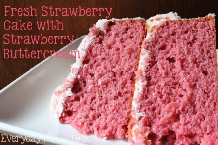 This Fresh Strawberry Cake with Strawberry Buttercream is going to be a strawberry lovers dream come true!  This cake is made with fresh strawberries in the mix, as well as in the buttercream! You can't get any more strawberry flavor in a from scratch cake!  | EverydayMadeFresh.com