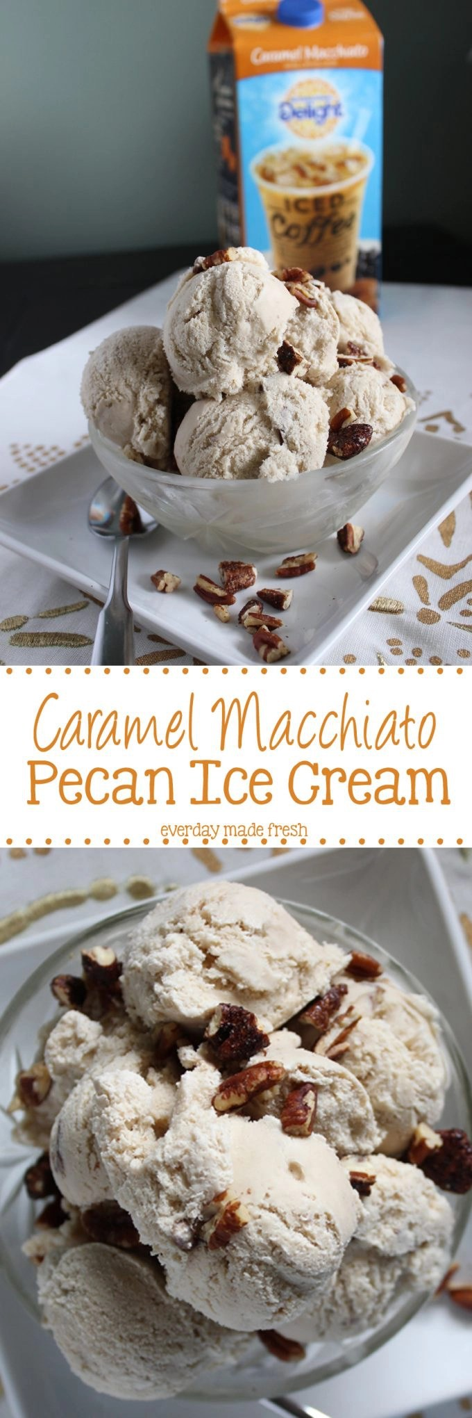 Caramel Macchiato Pecan Ice Cream reminds you of fall, but will keep you cool in the sweltering heat! #FoundMyDelight #ad | EverydayMadeFresh.com