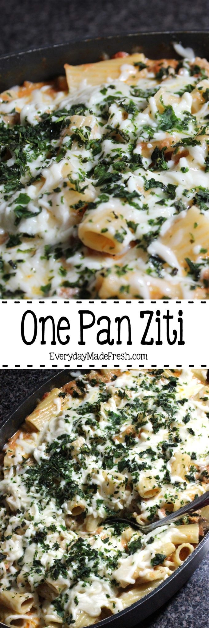 This One Pan Ziti is so tasty and so easy to make. It's one of our favorites! | EverydayMadeFresh.com
