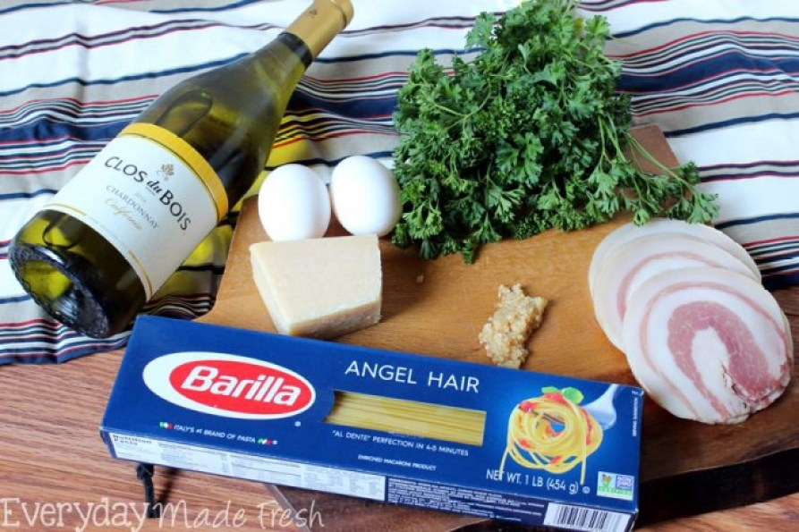 Msg 4 21+ Spaghetti Carbonara is a fancy sounding pasta dish that is simple to prepare. Ready in less than 25 minutes, and requires literally a handful of fresh ingredients. #thetalkofthetable #ad   EverydayMadeFresh.com