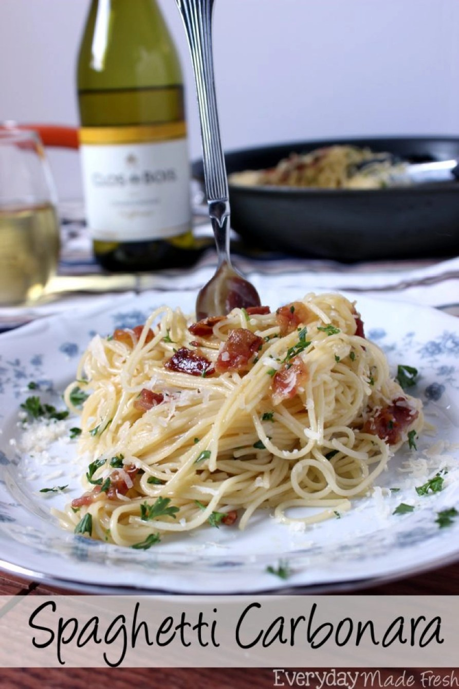 Msg 4 21+ Spaghetti Carbonara is a fancy sounding pasta dish that is simple to prepare. Ready in less than 25 minutes, and requires literally a handful of fresh ingredients. #thetalkofthetable #ad | EverydayMadeFresh.com