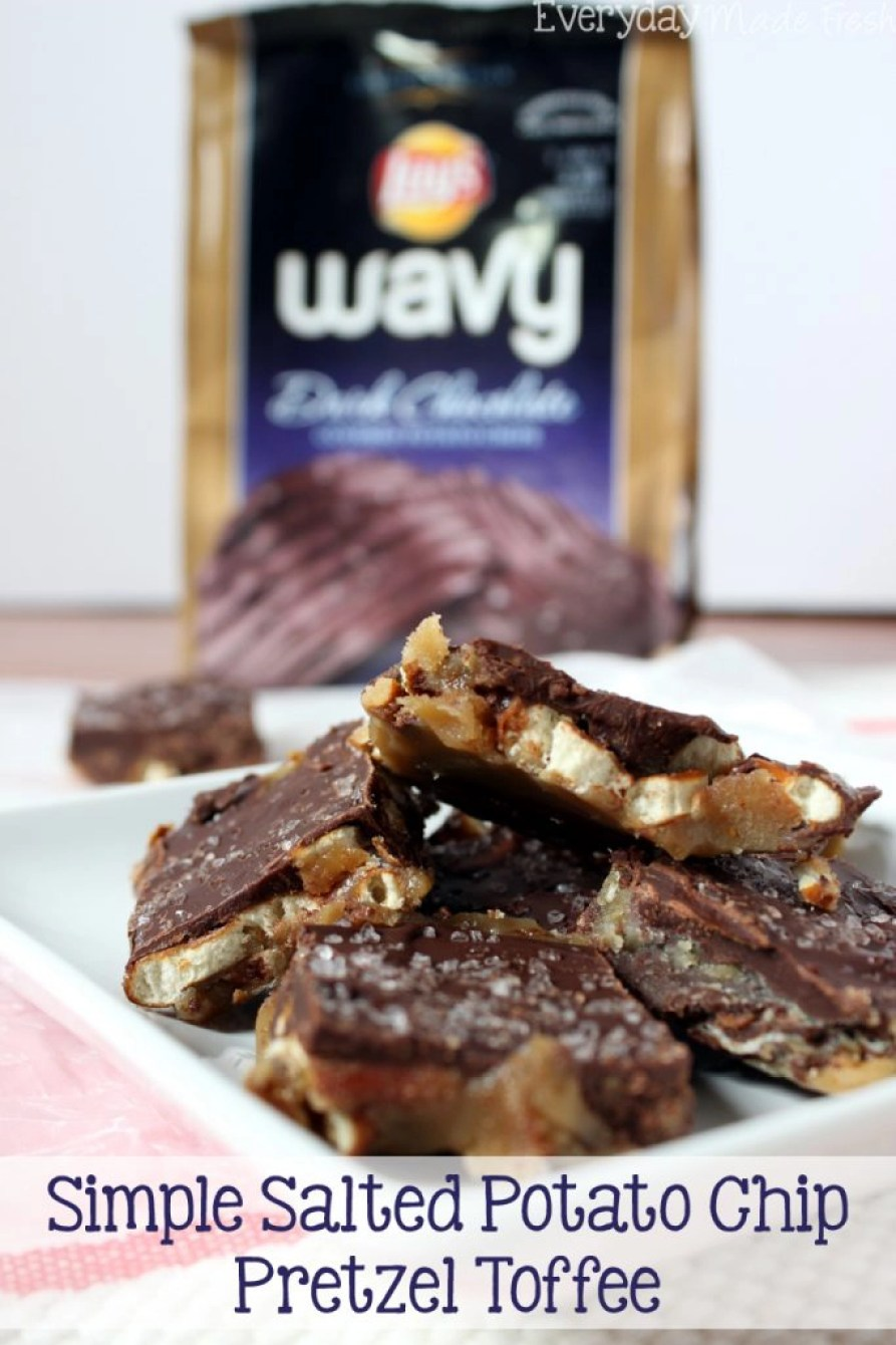 Sweet, salty, crunchy, and chewy this Simple Salted Potato Chip Pretzel Toffee will have you coming back for more! #SweetnSaltyHoliday #ad | EverydayMadeFresh.com