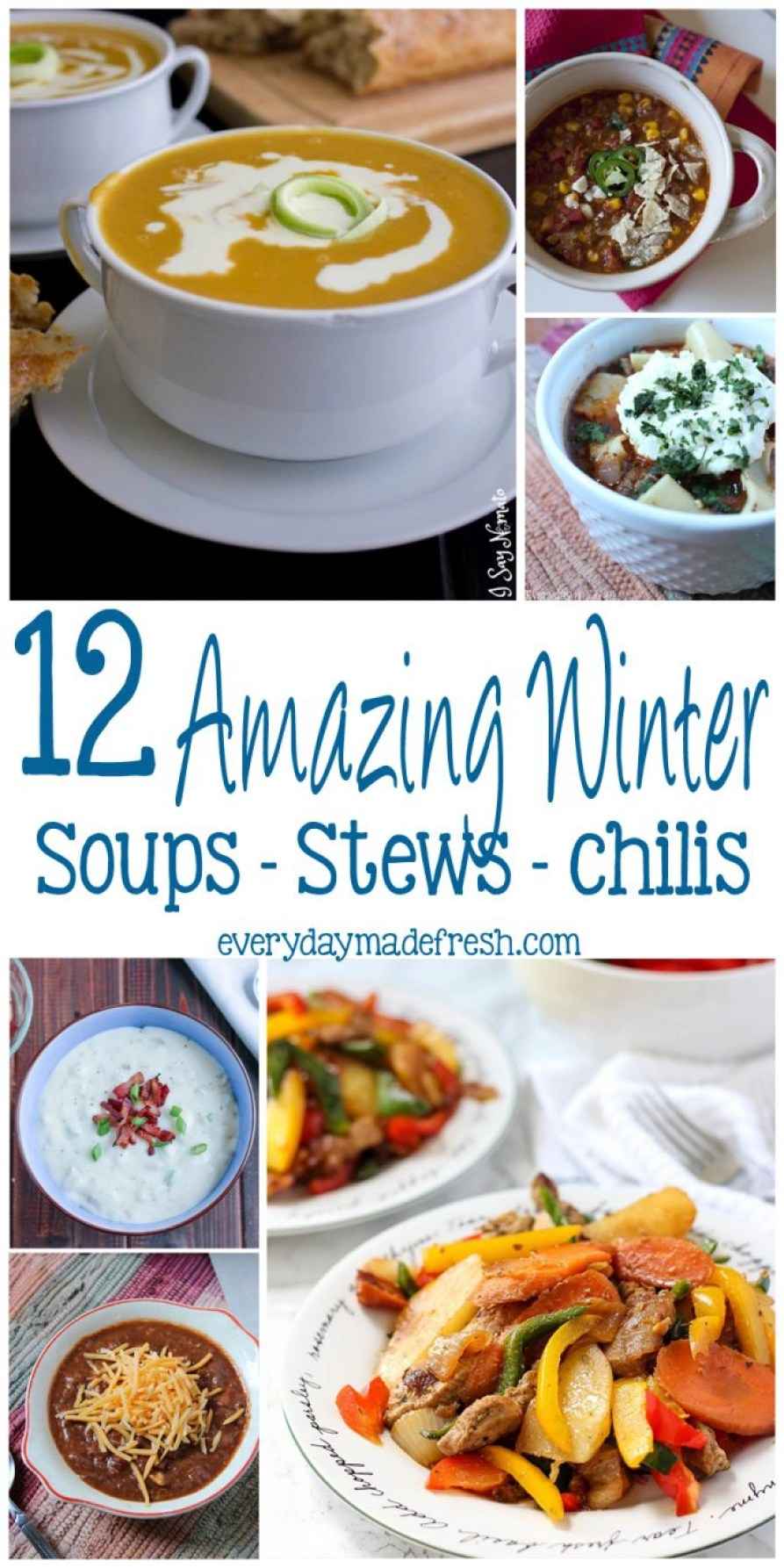 It's winter and everyone is looking for the perfect recipe after a day in the cold. I have picked 12 Amazing Soups - Stews - Chilis that will be the perfect bowl to warm up to!   EverydayMadeFresh.com