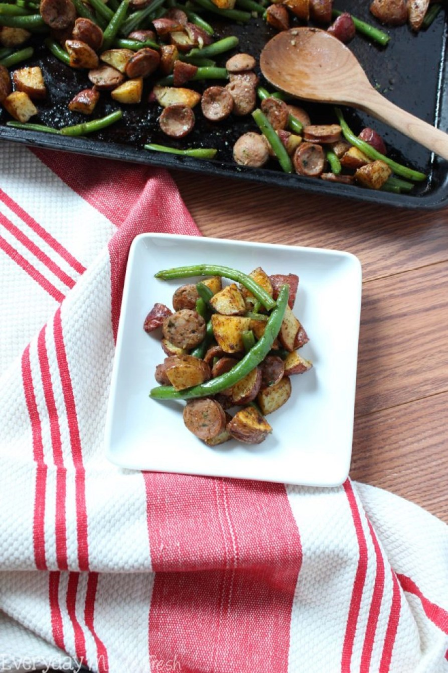 This One Pan Ranch Seasoned Sausage, Green Beans, and Potatoes is so simple and tastes so good! You'll love this easy meal any night of the week!   EverydayMadeFresh.com