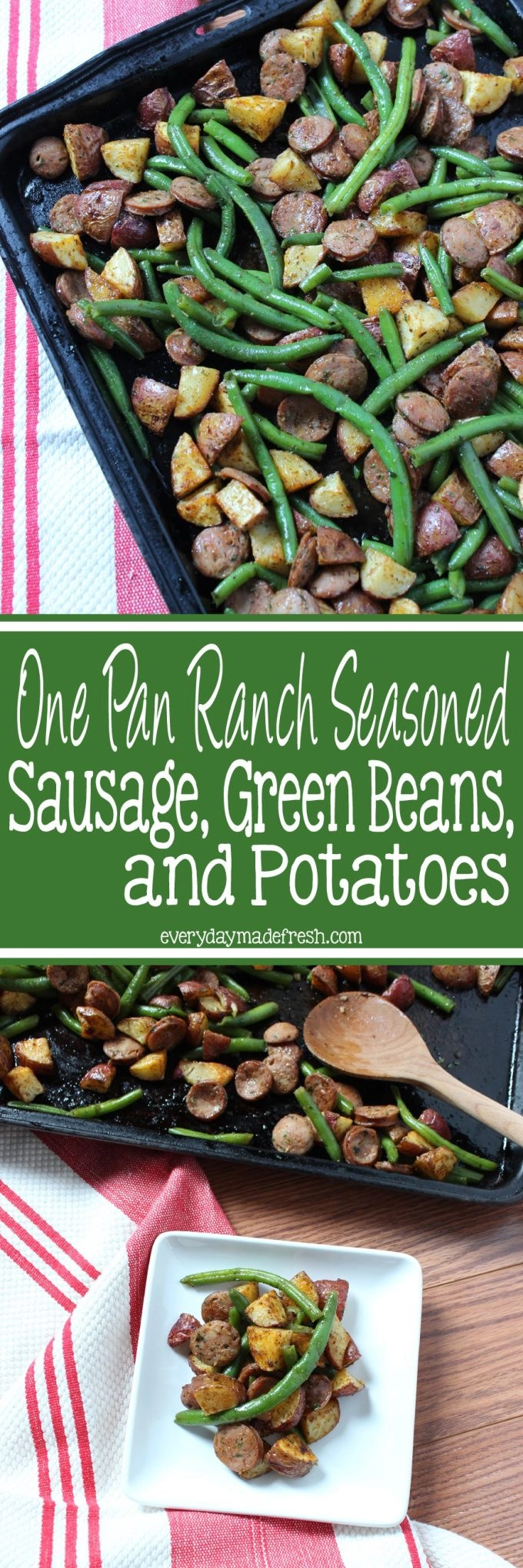 This One Pan Ranch Seasoned Sausage, Green Beans, and Potatoes is so simple and tastes so good! You'll love this easy meal any night of the week! | EverydayMadeFresh.com