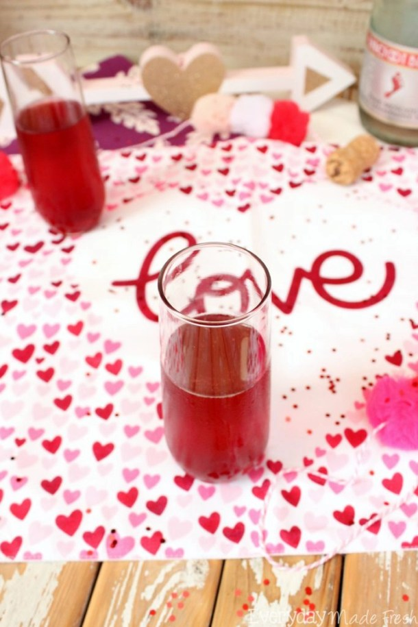 """The perfect drink to enjoy on the official day of """"love"""", has to be red! These Valentine's Mimosas are made with pink champagne and pomegranate juice; the perfect combination. 