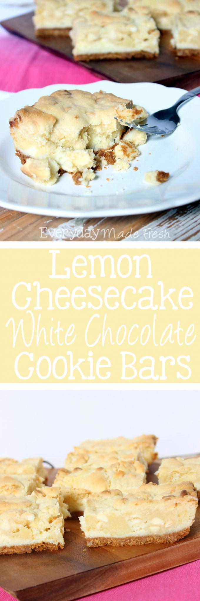 Lemon Cheesecake White Chocolate Cookie Bars are loaded with flavor! It's a marriage between a sweet and tangy lemon cheesecake and a chewy lemon white chocolate cookie. These were made for spring! | EverydayMadeFresh.com
