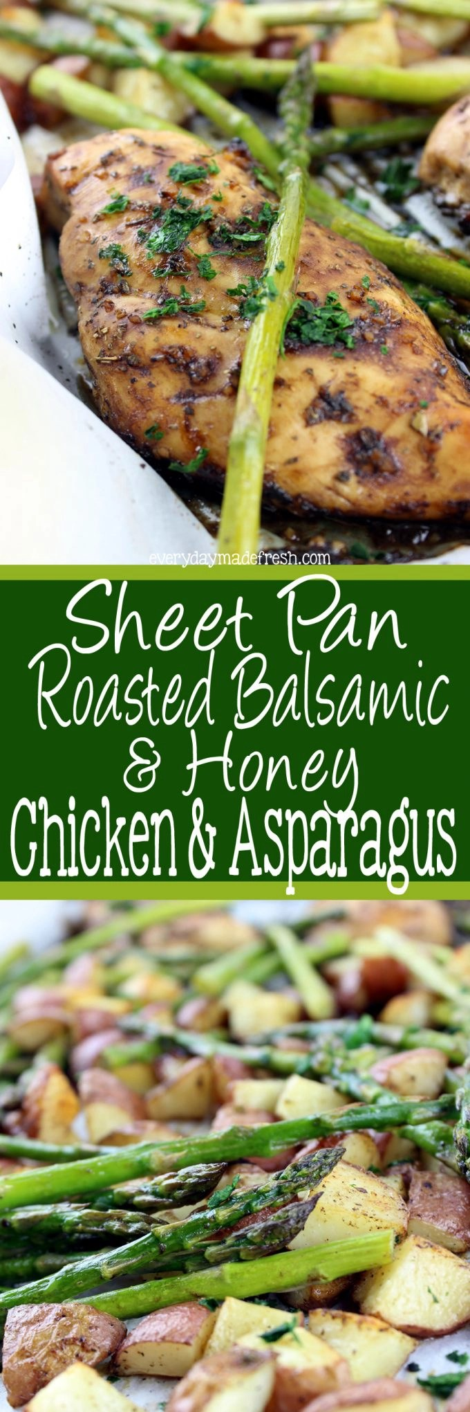 One pan meals are the way to go, and this sweet and tangy Sheet Pan Roasted Balsamic & Honey Chicken & Asparagus hits all the right taste buds! | EverydayMadeFresh.com