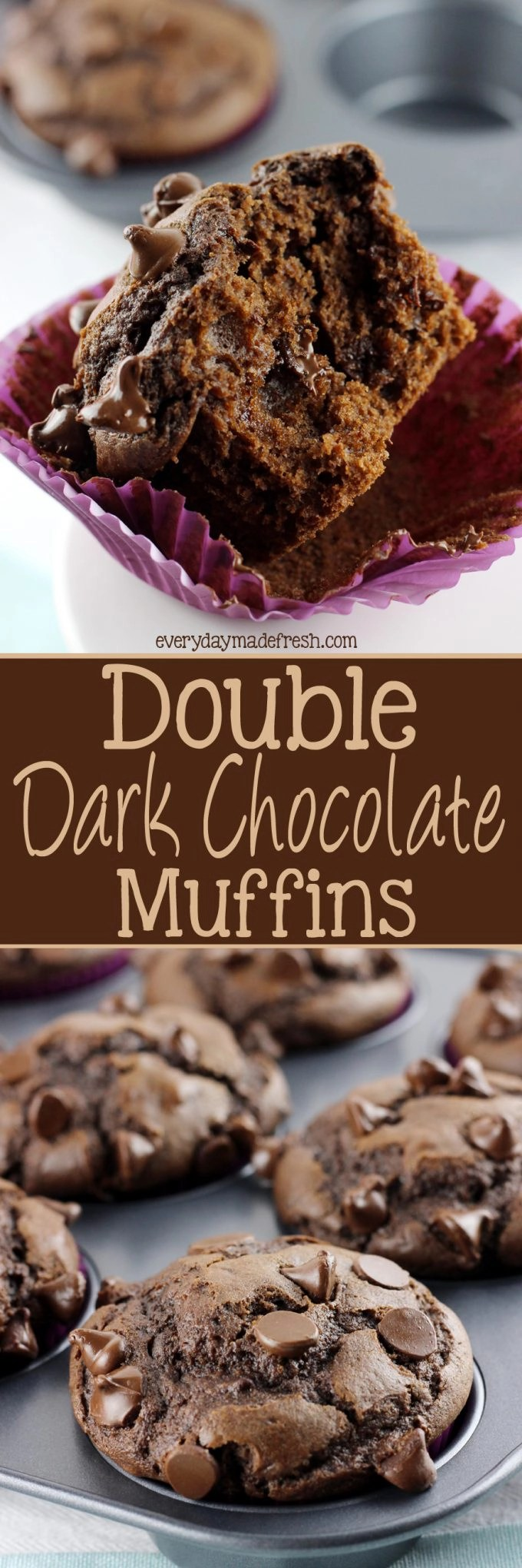 These Double Dark Chocolate Muffins are loaded with a rich dark chocolate flavor. You'll love the crumbly, moist texture, and find any reason to eat one!   EverydayMadeFresh.com