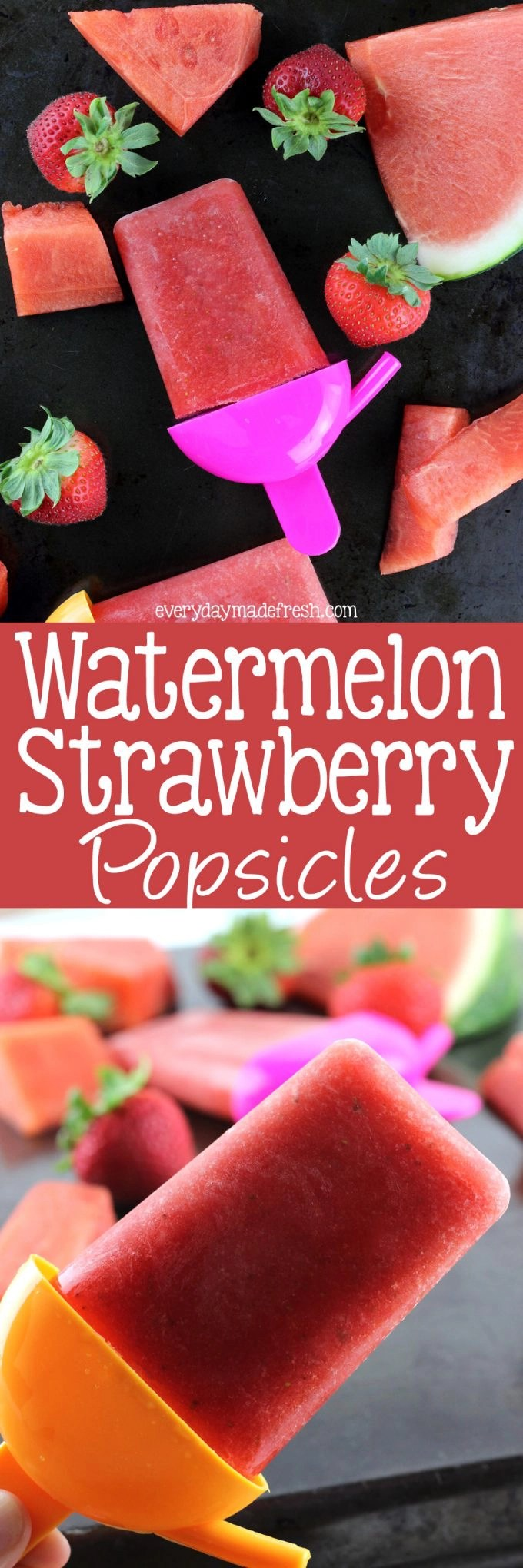 Nothing says summer like a popsicle! Of course nothing says summer more like these Watermelon Strawberry Popsicles! | EverydayMadeFresh.com