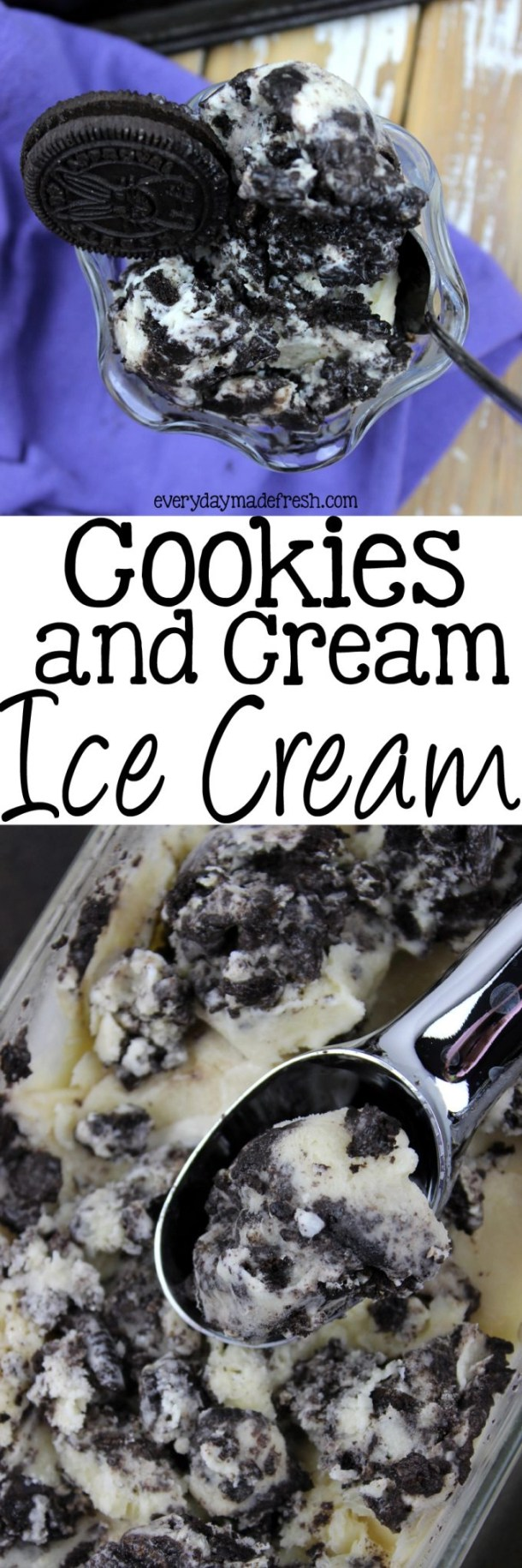 This Cookies and Cream Ice Cream is rich, smooth, and creamy! Let's not forget the most important part, it's decadent, and you're gonna love it! | EverydayMadeFresh.com
