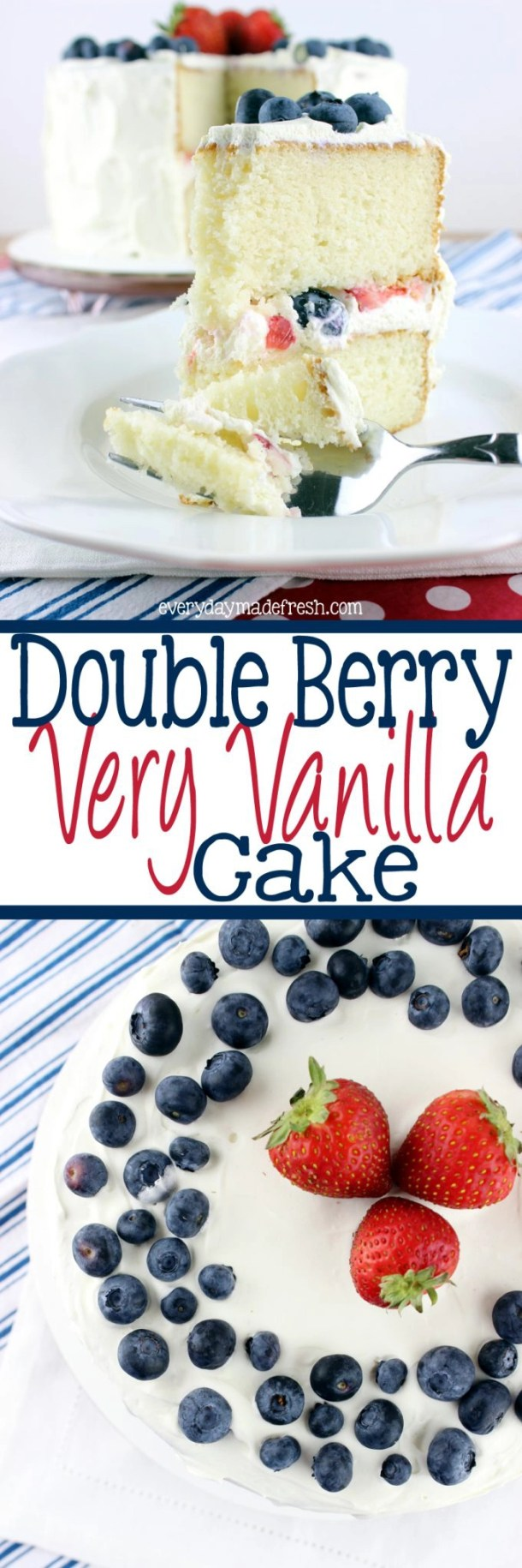 Nothing says summer time like blue berries and strawberries...And nothing says summer like a red, white, and blue dessert. This Double Berry Very Vanilla Cake is all of that! It's made light with the perfect whipped cream cheese topping.  | EverydayMadeFresh.com