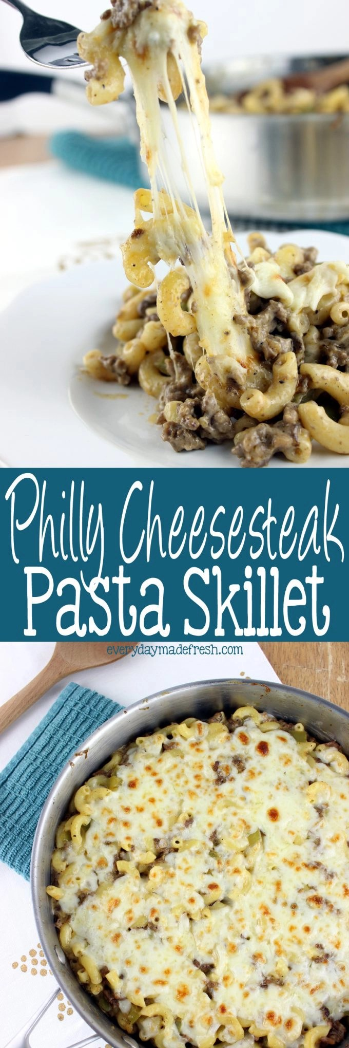 You're gonna love this Philly Cheesesteak Pasta Skillet!  All those flavors you love in a Philly Cheesesteak, but done in a mouthwatering comforting pasta dish.  | EverydayMadeFresh.com