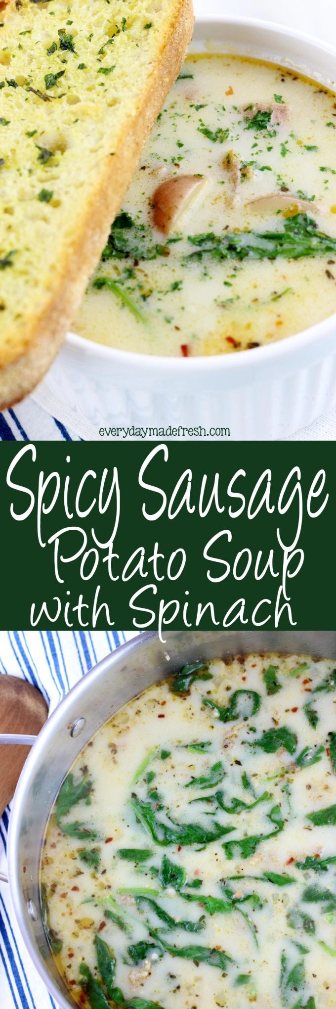 Spicy Sausage Potato Soup with Spinach is a quick soup to make that's loaded with flavor! It's one of our favorites to enjoy as the weather starts to cool down. | EverydayMadeFresh.com